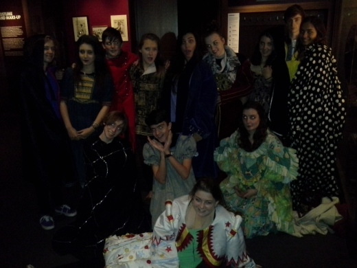 Students dressed up in costumes at the Victoria and Albert Museum
